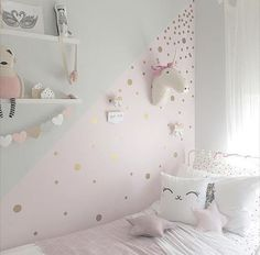 Gold Polka Dot Decals, Spot Decal, Home Decor, Vinyl Wall Stickers, Gold Dot Decals - Home And Garden Baby Wall Decals, Polka Dot Wall Decals, Pastel Decor, Polka Dot Walls, Polka Dot Nursery, Unicorn Bedroom, Pink Walls, Little Girl Rooms, Home Decor Styles
