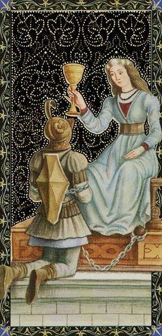 Queen of Cups - Golden Tarot of Renaissance par Giordano Berti & Jo Dworkin