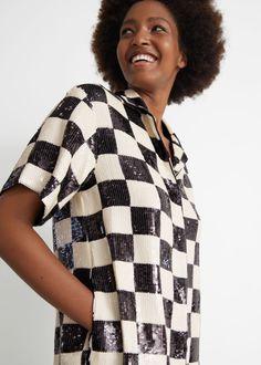 Checkered Sequin Mini Dress - Black/White Checks - Mini dresses - & Other Stories GB
