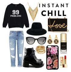 """""""golden goth"""" by wesleycd ❤ liked on Polyvore featuring Miss Selfridge, MICHAEL Michael Kors, Burberry, Yves Saint Laurent, Maison Michel, ABS by Allen Schwartz, Chanel, Dolce&Gabbana, Lanvin and shadesofyou"""