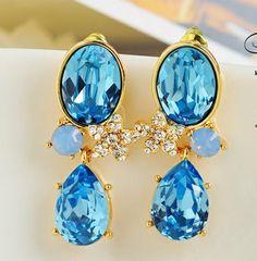 Swarovski Crystal Flower Earrings Blue Jewelry Pendants - I want!