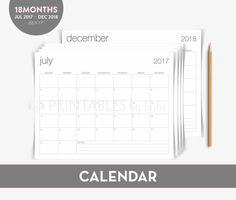 2018 Calendar / 2017-2018 Printable Calendar / Academic Calendar 2017-2018 / Minimalist Monthly Calendar Printable Instant Download by cardsbybubi on Etsy