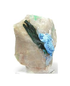 Emerald Green Malachite Crystals with Rare Blue by FenderMinerals