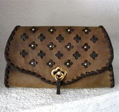 Olive Green Brass Studded Clutch Bag