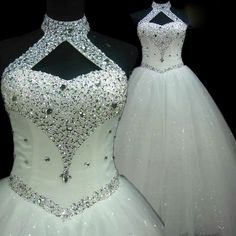 Sexy Halter White Lace Wedding Dress At Bling Brides Bouquet - Online Bridal Store  #BlingBridesBouquet