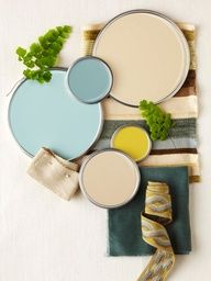 Color palette - love the idea of stenciling a wall in the bathroom with a neutral or white shower curtain