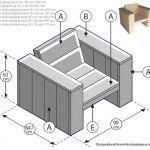 Tuinstoel XL, bouwtekening voor een steigerhout loungestoel.