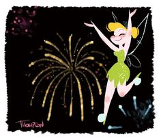 Tinker Bell~ By Steven Thompson Happy 4 Of July, 4th Of July, Steve Thompson Disney, Disney Faries, Disney Artwork, Disney Artists, Twisted Disney, Peter Pan Disney, Kawaii Drawings