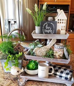 Black, white, naturals and greens Kitchen Dining, Kitchen Decor, Kitchen Ideas, Centerpieces, Table Decorations, Tray Decor, Seasonal Decor, Happy Friday, A Table