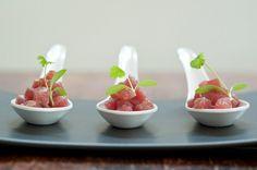 Tuna Sashimi – Yuzu Dressing – Baby Coriander  Recipe by Sarah French