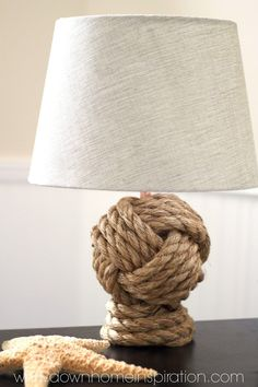 Pottery Barn Knockoff Rope Knot Lamp  Oh my goodness, I am so excited about this darn lamp! It is such a close replica to the Pottery Barn Rope Knot Lamp that I am astounded each and