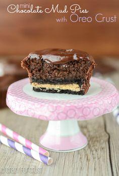 Mini Chocolate Mud Pies with Oreo Crust - chocolate to the extreme! | crazyforcrust.com | #pie #chocolate