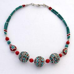 "NSS62 Tibetan Nepalese Handmade Turquoise Coral White Metal 18"" Necklace Tibet #Eksha #Necklace"