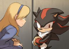"""Pg. 7 Shadow stared at Maria and then looked to the side and then Maria asked """"What's on your mind, my friend?"""" Shadow explained that he longed to see Maria again, and now that he finally had a chance to talk to her again... He felt somewhat happy and also somewhat awkward. """"It's okay, Shadow."""" replied Maria. """"I understand how you feel and some how, I'll find out how to make you feel like your old behind-kicking self again, ok?"""" Shadow nodded his head gloomily and sighed in a melodramatic…"""