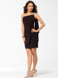 COCKTAIL DRESSES | Black One Shoulder Dress With Rhinestone Trim | Caché $168