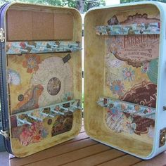 Vintage suitcase upcycled into an awesome jewelry storage and display case! DIY directions from Honey Girl Studio: June 2010 @Chloe and Isabel #jewelrystorage #jewelry #storage #vintage
