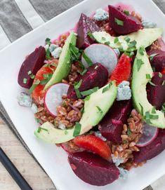 Warm Grain Salad with Beets, Orange, Avocado & Gorgonzola