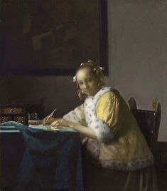 A LADY WRITING  (Schrijvend meisje)  c. 1665-1666  oil on canvas  17 3/4 x 15 3/4 in. (45 x 39.9 cm.)  The National Gallery of Art, Washington D.C.   Gift of Harry Waldron Havemeyer and   Horace Havemeyer, Jr.  in memory of their father, Horace Havemeyer