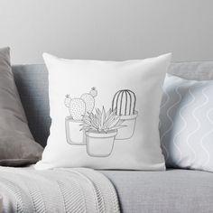 'Cactus Plants' Throw Pillow by PounceBoxArt Cactus Pot, Buy Cactus, Cactus Plants, Framed Prints, Canvas Prints, Art Prints, Free Stickers, Designer Throw Pillows, Pillow Design