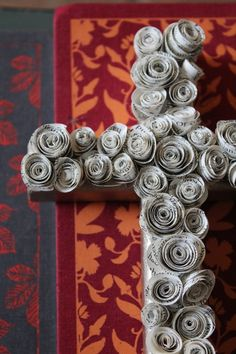 Hanging Wall Cross with Rosettes from Book Pages - use magazines instead for color
