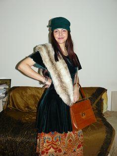 Vintage psychedelic skirt (under the dress), vintage bag, vintage green hat - (both from the worn with a velvet dress and a fake fur stole. Vintage Bag, Vintage Green, Dress Vintage, Fur Stole, Green Hats, Fake Fur, Psychedelic, Velvet, Modern