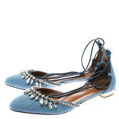 19906a00d Buy Aquazzura Blue Light Wash Denim Alexa Crystal Embellished Ankle Tie  D orsay Flats Size