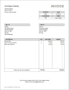 Printable Invoice Templates Free Free Invoice Template  Projects To Try  Pinterest  Printable .