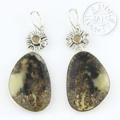 """Długie srebrne kolczyki z bursztynem i cytrynem """"Etno II"""" ID: 150861 / AmberGallery / Biżuteria / Kolczyki"""