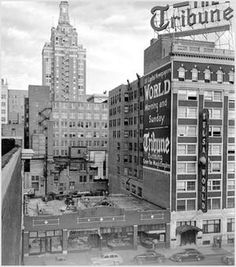 Tulsa Tribune newspaper. 20 East Archer St, looking South. Built in 1924 This building was vacated in 1942, Tribune joined World.