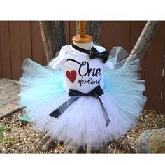 First Birthday Alice wonderland, Onederland Outfit, Birthday babe, Light Blue Tutu, Black sequin bow headband. by GABYROBBINSDESIGNS on Etsy