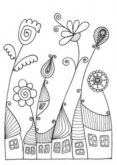Flowervillage by annabies on etsy drawings doodle art, embro Doodle Art, Doodle Drawings, Pencil Drawings, Embroidery Stitches, Embroidery Patterns, Hand Embroidery, Knitting Stitches, Simple Embroidery, Colouring Pages