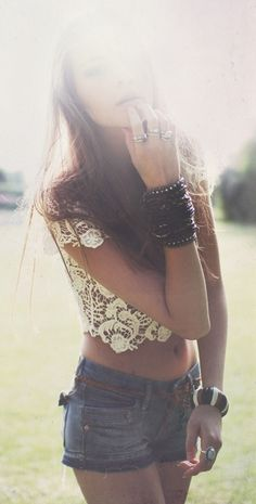 Boho lace top + cut off shorts