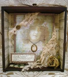 ~ The Feathered Nest ~: I actually squeaked out a little artwork! Mixed Media Collage, Collage Art, Collages, Altered Boxes, Altered Art, A Level Art Final Piece, Found Object Art, Heart Crafts, Assemblage Art