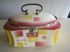 Alte Keksdose Dose Kekse Deckeldose Art Déco Spritzdekor Keramik schöne Farben   eBay