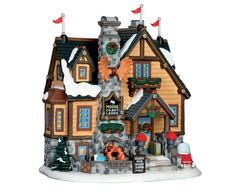 Lemax Village Collection Moose Crest Lodge # Moose Crest Lodge Item # 65113 Features Include: Porcelain lighted building With cord feet) ON / OFF switch Approx. size: ( H x W x D ) x x inches 20 x x 15 cm Village Lemax, Vail Village, Lemax Christmas Village, Christmas Villages, Village Houses, Christmas Catalogs, Christmas Store, Merry Christmas, Villas