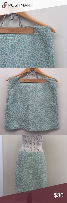 "LOFT Skirt with Flowers NWT Adorable green skirt with stylized flower pattern. Back zip and fully lined. Waist 16"" across; length 18"". NWT 6 LOFT Skirts"