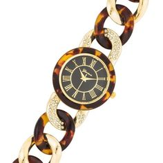 Ronda Tortoise Gold Link Watch with Crystals