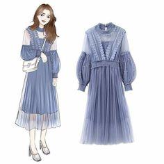 Pin by Rissa Legitaa on I Want To Sew in 2019 Ulzzang Fashion, Asian Fashion, Fashion Art, Girl Fashion, Fashion Dresses, Womens Fashion, Fashion Ideas, Fashion Design Drawings, Fashion Sketches