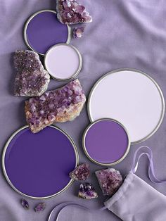 •Amethyst Purple Paint Colors Purple is versatile because it is a mix of red and blue, and the exact color can vary based on the ratio of red to blue. More blue means a cooler color, which is the story of these brilliant amethyst purples.