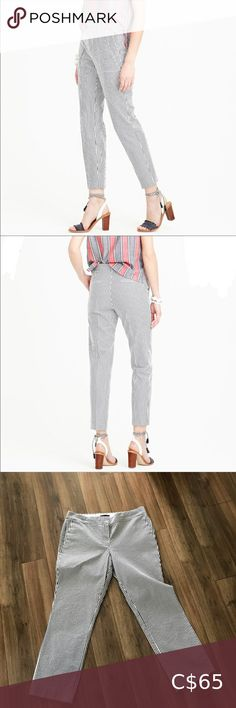 "J. Crew striped ankle pants A slim fit cropped summer weight Trouser in black and white Seersucker.   17.25"" across waist  21"" across hips  9.75"" rise from top of waistband  26.5"" inseam  35.5"" from top of waistband to cropped hem J. Crew Pants & Jumpsuits Wide Leg Cropped Pants, Slim Fit Pants, Straight Leg Pants, Wool Pants, Cotton Pants, Linen Pants, Tan Chinos, Chambray Jumpsuit"