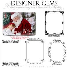 Our Designer Gems - 5x7 Holiday Overlays Set 2 are beautiful photo accents for photographers. These Photoshop files make beautiful accents for your images or photography templates. Simply add any of these five (5) Holiday overlay designs to your photos, collages, photo book pages or other items to create a custom design. Note: All TEXT IS EDITABLE.