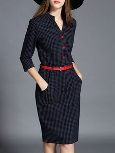 Fashion Paneled Midi Dress: