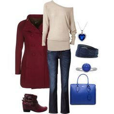 Blue and maroon