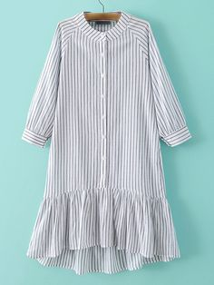 ¡Cómpralo ya!. Grey Stripe Buttons Front Ruffle Hem Dress. Grey Casual Cotton Round Neck Three Quarter Length Sleeve Shift Knee Length Ruffle Striped Fabric has some stretch Summer Drop Waist Dresses. , vestidoinformal, casual, informales, informal, day, kleidcasual, vestidoinformal, robeinformelle, vestitoinformale, día. Vestido informal  de mujer color gris de SheIn.