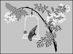 Animal and Bird Parakeet Panel stencils, stensils and stencles
