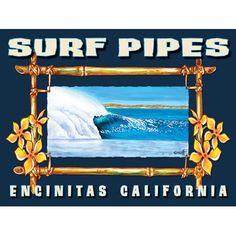 Personalized Surf Encinitas California Wood Sign