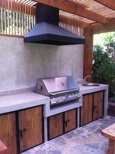 Outdoor Kitchen Plans, Outdoor Kitchen Design, Kitchen Decor, Rooftop Terrace Design, Dirty Kitchen, Back Garden Design, Casas Containers, Bbq Area, Dream House Plans