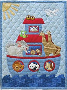 Noah's animals rejoice in the sun as the doves return with an olive branch is this sweet pattern. The ark and 10 animal pairs are appliqued, using…