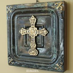 Hand-made cross on antique ceiling-tin wall hanging in green black and gold - $30.00