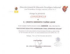 Constancia como asesor de Prototipo didáctico memorama para aprender inglés. Cristo Leon